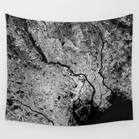 tokyo Wall Tapestries featuring Tokyo map by Line Line Lines