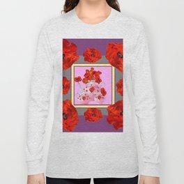 ORANGE POPPIES & PORCELAIN TEA SERVICE FLORAL ART Long Sleeve T-shirt
