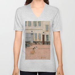 Pierre Bonnard - Two Dogs In A Deserted Street - Digital Remastered Edition Unisex V-Neck