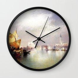 The Splendor of Venice, Italy landscape painting by Thomas Moran Wall Clock