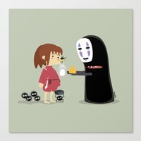 chihiro Canvas Prints featuring Chihiro & NoFace by solostudio