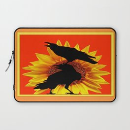 Orange-Yellow Sunflower Crows Whimsey Laptop Sleeve
