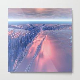 Fractal Glacier Landscape Metal Print