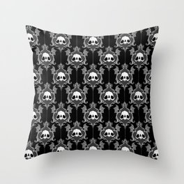 Halloween Damask Black Throw Pillow
