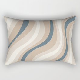 Pastel Blue and Coffee Stripes Rectangular Pillow