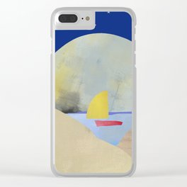 Large Full Moon Stars at Night and Sailboat Clear iPhone Case