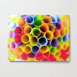 Rainbow Straws Metal Print