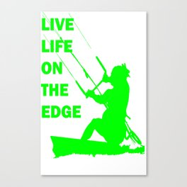 Live Life On The Edge Neon Lime Kitebeach Canvas Print