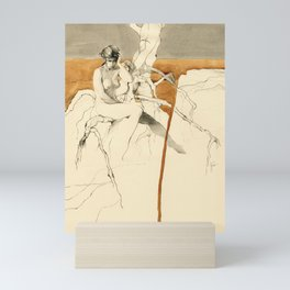 Nude Female Figure Drawing and Tree with Copper Grey Watercolour Mini Art Print