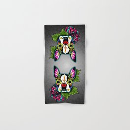 Boston Terrier in Black - Day of the Dead Sugar Skull Dog Hand & Bath Towel