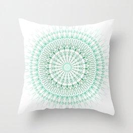 Mint White Geometric Mandala Throw Pillow