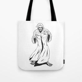 Grim reaper holding an hourglass -  black and white Tote Bag