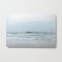 Wrightsville Beach, NC -- Jetty with Boats Metal Print
