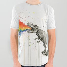 T-Rex Dinosaur Vomits Rainbow All Over Graphic Tee