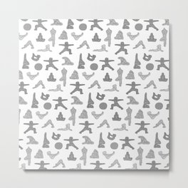Grey Yoga Pattern Metal Print