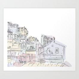 Whimsical town Art Print