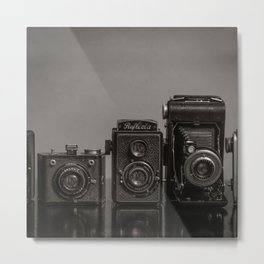 Vintage Cameras - Black Grey Metal Print