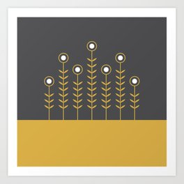 Spring Shoots (Charcoal Black, Spicy Mustard) Art Print