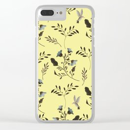 Butter Yellow and Bluebells and Bluebirds Floral Pattern Flowers in Blue and Bark Brown Clear iPhone Case
