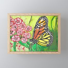 Monarch Butterfly with Pink Flowers Framed Mini Art Print