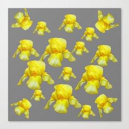 LEMON YELLOW SPRING IRIS GREY ART Canvas Print