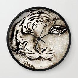 Tiger or woman Wall Clock