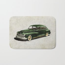 Retro car - American classics. Green antique automobile over hatched background. Bath Mat