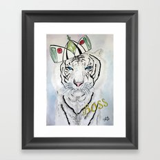 White Tiger BOSS Poster Framed Art Print