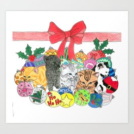 Christmas kittens Art Print
