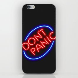 "Hitchhiker's Guide - ""Don't Panic"" Neon Sign iPhone Skin"