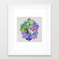 yoshi Framed Art Prints featuring Yoshi and Baby Yoshi by likelikes