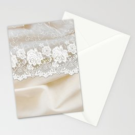Bride lace - Luxury white floral elegant lace on cream silk fabric Stationery Cards