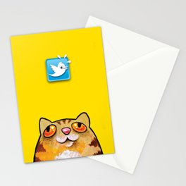 Cat love twitter bir yellow Stationery Cards