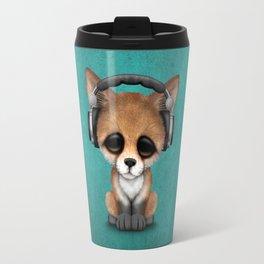 Cute Red Fox Cub Dj Wearing Headphones on Blue Travel Mug