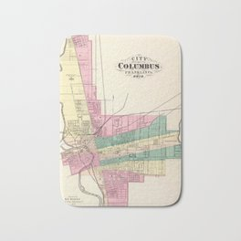 Map of Columbus 1872 Bath Mat