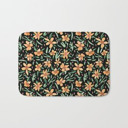 Peaches and Green Watercolor Floral Bath Mat