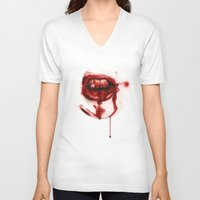 mouth V-neck T-shirts featuring Bloody Mouth by Sam Luotonen
