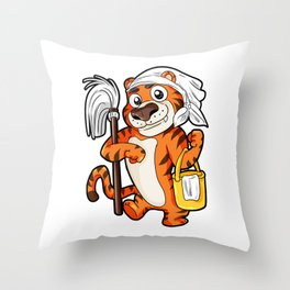Housework Housekeeping Chores Cleaning Tiger Gift Throw Pillow