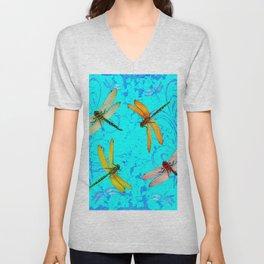 DRAGONFLY WORLD IN BLUE ABSTRACT ART DESIGN Unisex V-Neck