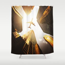 airplane in nyc Shower Curtain