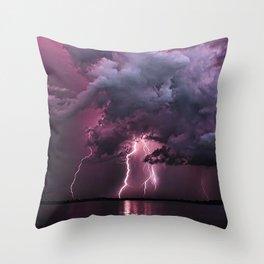 Lightening Strike in Purple Storm Throw Pillow