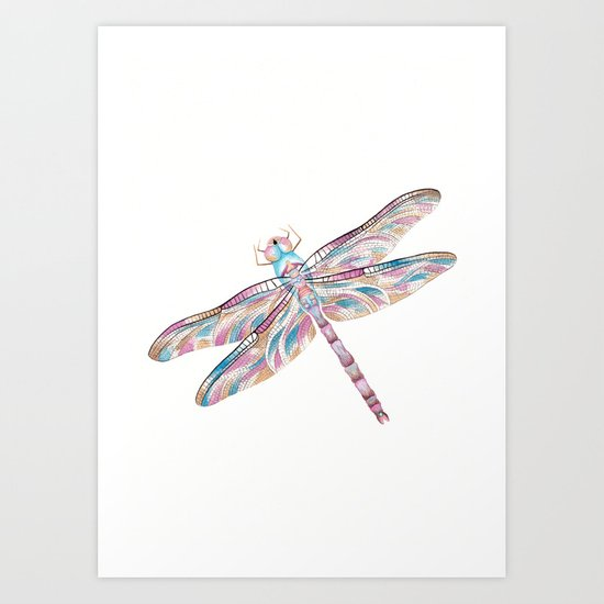 Watercolour Dragonfly Art Print