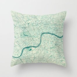 London Map Blue Vintage Throw Pillow