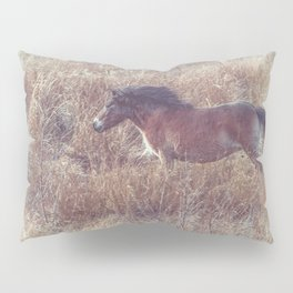 brown horse running in the fields Pillow Sham