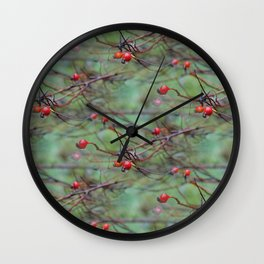 Small rosehips on bare branches Wall Clock