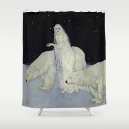 """The Snow Queen"" Fairy Tale Art by Edmund Dulac Shower Curtain"