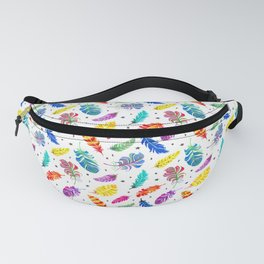 Rainbow Feathers White Ground Fanny Pack