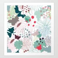 wonderland Art Prints featuring Wonderland by Demi Goutte