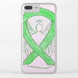 Lime Green Awareness Ribbon Angel Art Clear iPhone Case