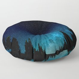 Black Trees Turquoise Milky Way Stars Floor Pillow